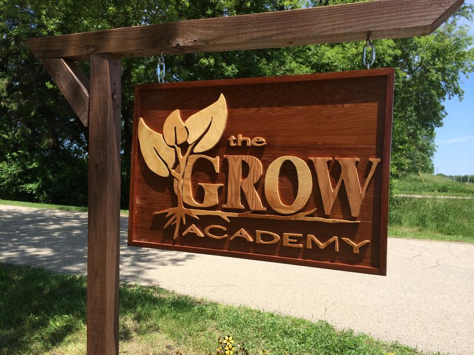 GROW Academy's new sign.