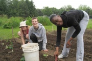 Workers on the East High Youth Farm.